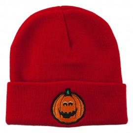 Halloween Surprised Jack o Lantern Embroidered Long Beanie