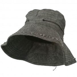Women's Stitching Sewn Bucket Hat - Black