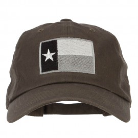 Silver Texas Flag Embroidered Unstructured Washed Cap
