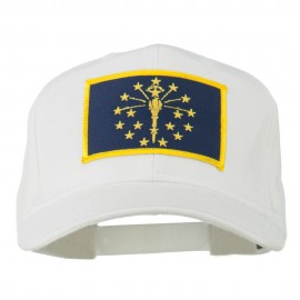 State of Indiana Embroidered Patch Cap - White