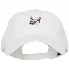 Siamese Cat Embroidered Washed Cotton Twill Cap