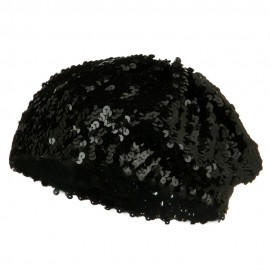 Sequin Knitted Beret - Black