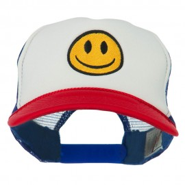 Smile Face Embroidered Foam Mesh Back Cap - Red White Royal