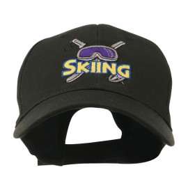 Skiing Logo with Pole and Goggle Embroidered Cap