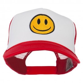 Smile Face Embroidered Foam Mesh Back Cap - Red White Red