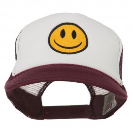 Smile Face Embroidered Foam Mesh Back Cap - Maroon White