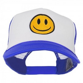 Smile Face Embroidered Foam Mesh Back Cap - Royal White