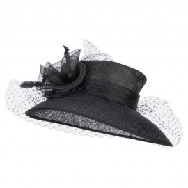 Women's Swirl Flower Net Sinamay Hat - Black
