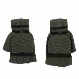 Men's Striped Fingerless Flip Top Glove