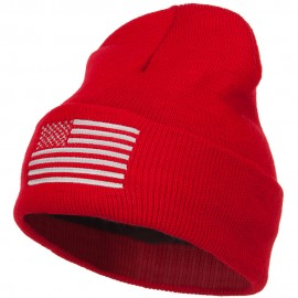 USA Silver Line Flag Embroidered Fleece Long Beanie