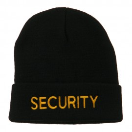 Security Embroidered Long Knitted Beanie - Black