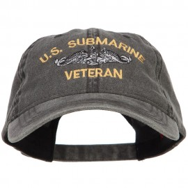 US Submarine Veteran Military Embroidered Washed Cap - Black