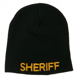 Sheriff Military Embroidered Beanie - Black