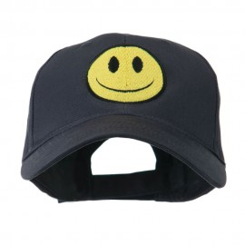 Smile Face Embroidered Cap - Navy