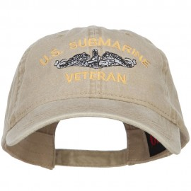 US Submarine Veteran Military Embroidered Washed Cap - Khaki