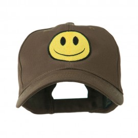 Smile Face Embroidered Cap - Brown