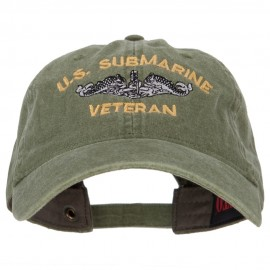 US Submarine Veteran Military Embroidered Washed Cap - Olive