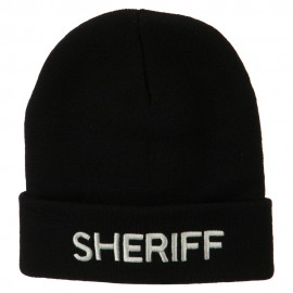 Sheriff Military Embroidered Long Cuff Beanie - Black