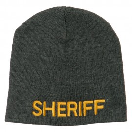 Sheriff Military Embroidered Beanie - Grey