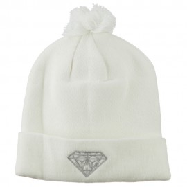 Small Diamond Embroidered Pom Beanie