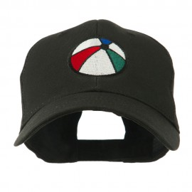 Summertime Beach Ball Embroidered Cap - Black