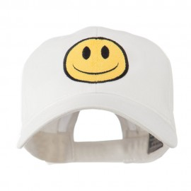 Smile Face Embroidered Cap - White