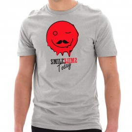 Smile Today Happy Face Graphic Design Short Sleeve Cotton Jersey T-Shirt