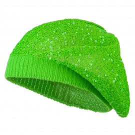 Sequin Nylon Stretchable Beret - Lime