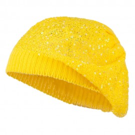 Sequin Nylon Stretchable Beret - Yellow