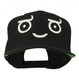 Smiley Face Emoticon Embroidered Snapback Cap