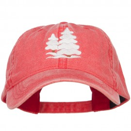 Snowy Christmas Trees Embroidered Washed Cap