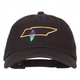 Tennessee Iris with Map Embroidered Unstructured Washed Cap