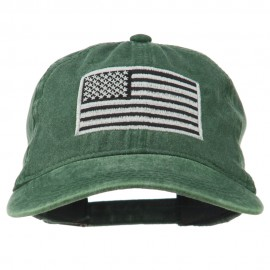 Silver American Flag Embroidered Washed Cap