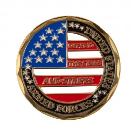 Support Our Troops Coin - Black Star and Stripes