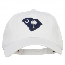 South Carolina State Flag Map Embroidered Unstructured Washed Cap