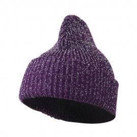 Sparkle Knitted Cuff Beanie - Purple