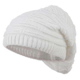 Stripe Patterned Deep Vintage Beanie - White