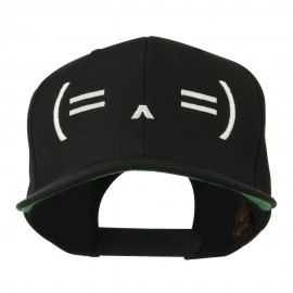Sleeping Text Emoticon Embroidered Snapback Cap