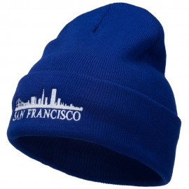 San Francisco Skyline Embroidered Cuffed Long Beanie