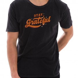 Stay Greatful Graphic Design Unisex Ring Spun Cotton Vintage Short Sleeve Crewneck Tee Shirt