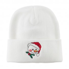 Smile Snowman Embroidered Beanie