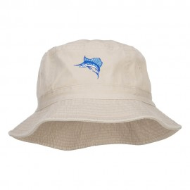 Sailfish Embroidered Pigment Dyed Bucket Hat - Natural
