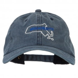 Massachusetts with Map Outline Embroidered Washed Cotton Twill Cap