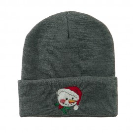 Smile Snowman Embroidered Beanie - Grey