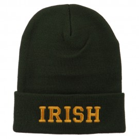Irish Embroidered Cuff Long Beanie