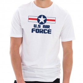 USAF Star Stripes Logo Graphic Design Short Sleeve Cotton Jersey T-Shirt