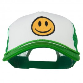 Smile Face Embroidered Big Size Trucker Cap - White Kelly