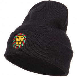 Rasta Lion Face Embroidered Long Beanie