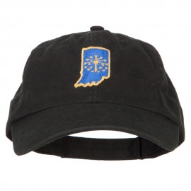 Indiana State Flag Map Embroidered Low Profile Cotton Cap