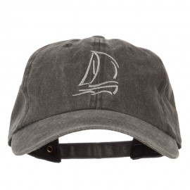 Sailing Outline Embroidered Washed Cotton Cap